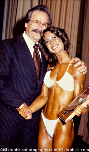 Publisher Joe Weider and Ms. Olympia Rachel McLish